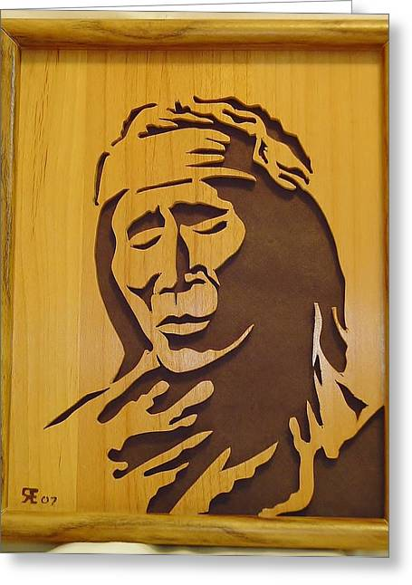 Saw Sculptures Greeting Cards - Apache Brave Greeting Card by Russell Ellingsworth