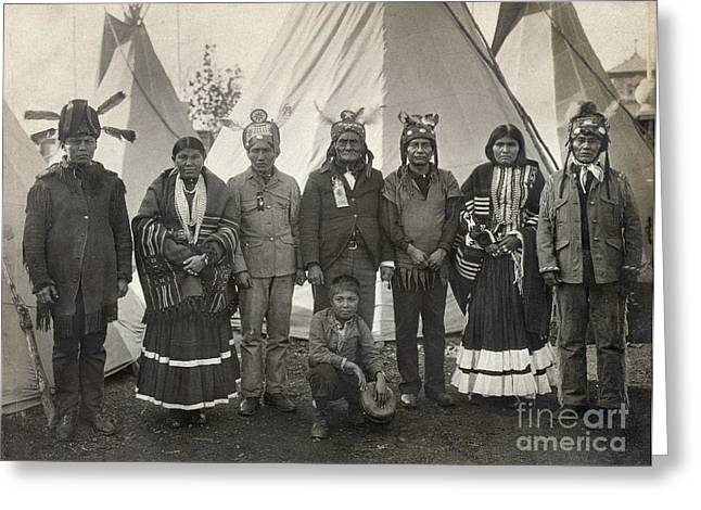 Native American Leaders Photographs Greeting Cards - Apache Group, 1904 Greeting Card by Granger