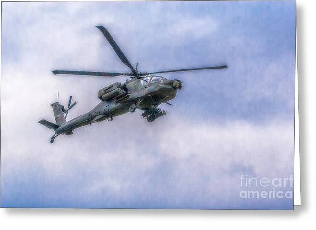 Art Book Greeting Cards - Apache Helicopter In Flight Three Greeting Card by Randy Steele