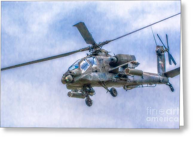 Art Book Greeting Cards - Apache Helicopter In Flight Two Greeting Card by Randy Steele