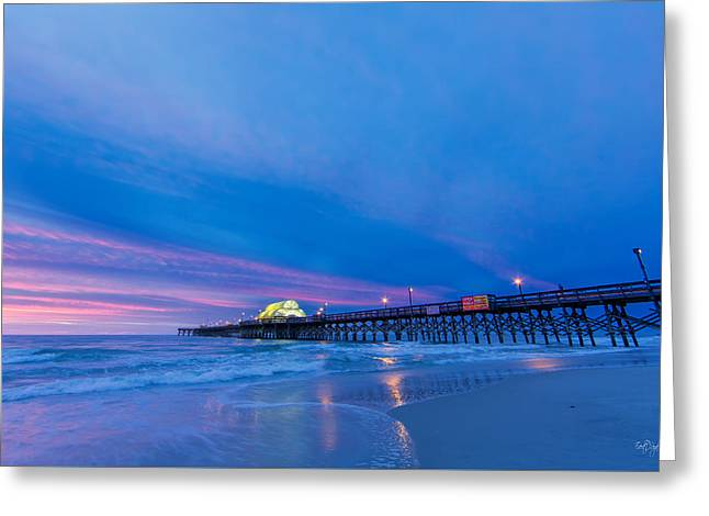 Myrtle Greeting Cards - Apache Pier at Sunrise Greeting Card by Everet Regal