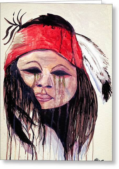 Calvary Greeting Cards - Apache Tears Greeting Card by Angela Pari  Dominic Chumroo