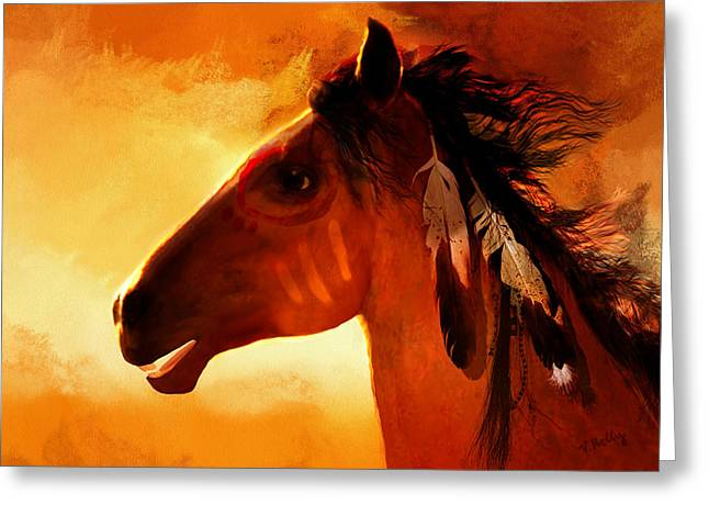 Apache Greeting Card by Valerie Anne Kelly