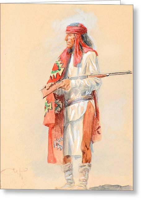 Chinook Paintings Greeting Cards - Apache Warrior Greeting Card by Charles M Russell