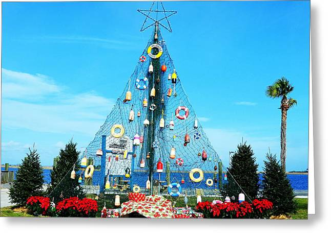 Apalachicola Christmas Tree Greeting Card by Carla Parris