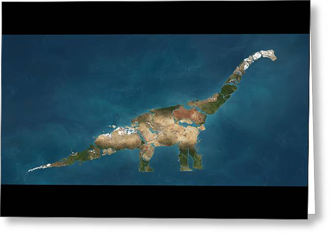 Dinosaur Map Digital Art Greeting Cards - Apatosaurus  Greeting Card by Jon Mill