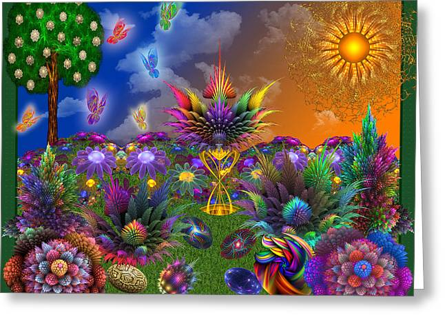 Apophysis Digital Art Greeting Cards - Apo Rainbow Garden Greeting Card by Peggi Wolfe