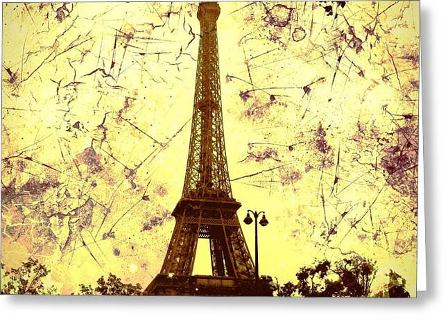 Creepy Digital Greeting Cards - Apocalyptic Garden Party Eiffel Tower 59 Greeting Card by Marina McLain