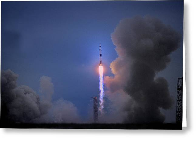Moon Neil Armstrong Greeting Cards - Apollo 11 Blasts Off On Mans First Greeting Card by O. Louis Mazzatenta