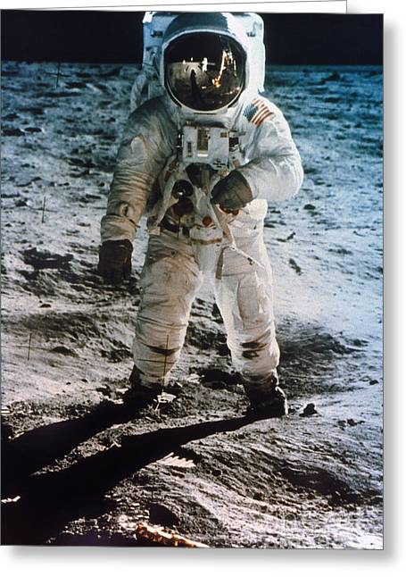 Neil Armstrong Greeting Cards - Apollo 11: Buzz Aldrin Greeting Card by Granger