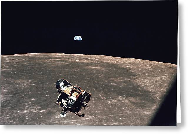 Lunar Surface Greeting Cards - Apollo 11 Module Ascends To Columbia Greeting Card by Nasa
