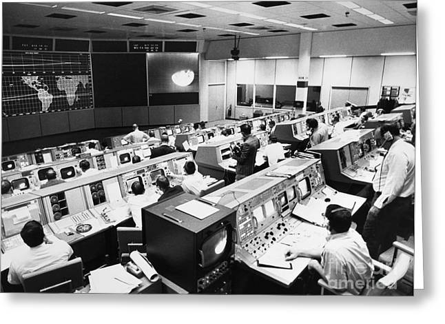 Control Center Greeting Cards - Apollo 8: Mission Control Greeting Card by Granger