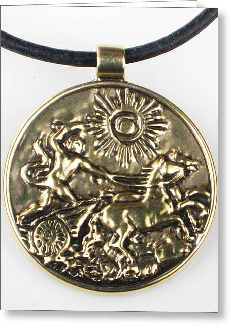 Sun Jewelry Greeting Cards - Apollo and his Chariot to the Sun - Bronze Pendant Greeting Card by Virginia Vivier -  Esprit Mystique