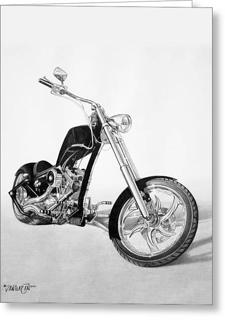 Graphite Drawing Greeting Cards - Apollo Chopper Greeting Card by Tim Dangaran