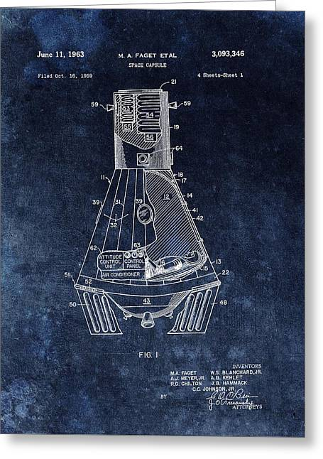 Man On The Moon Greeting Cards - Apollo Command Module Patent Greeting Card by Dan Sproul
