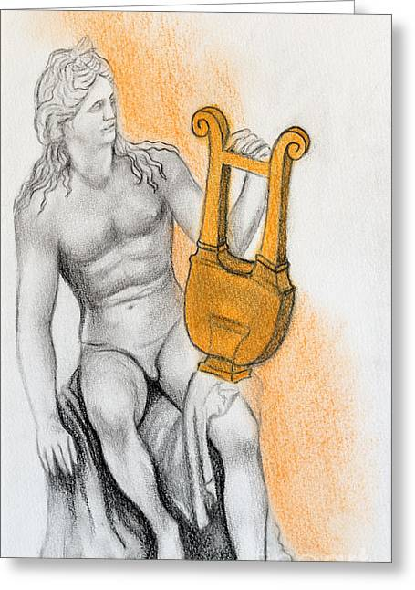 Historic Statue Drawings Greeting Cards - Apollo Greeting Card by Gabriela Junosova