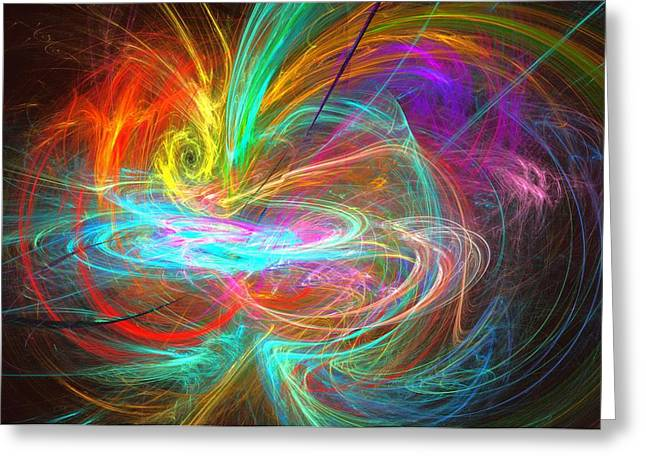 Abstract Shapes Greeting Cards - Apophysis Fractal 45 Greeting Card by Ashley Garrie
