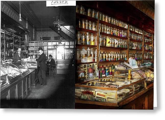 Apothecary - A Visit To The Chemist 1913 - Side By Side Greeting Card by Mike Savad