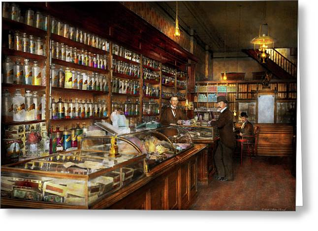 Apothecary - A Visit To The Chemist 1913 Greeting Card by Mike Savad