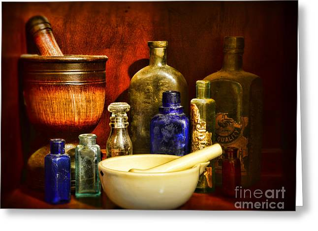 Old Grinders Greeting Cards - Apothecary - Tools of the Pharmacist Greeting Card by Paul Ward