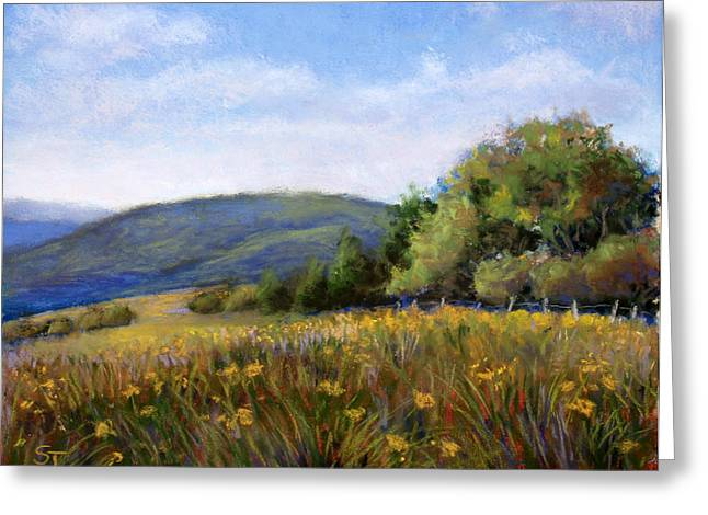 Ranch Pastels Greeting Cards - Appalachian Field Greeting Card by Susan Jenkins