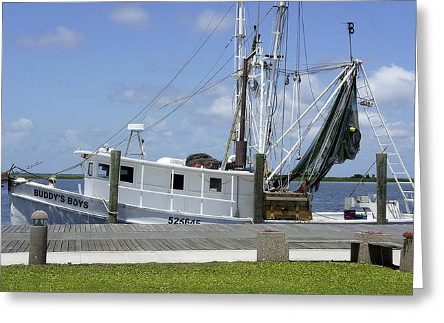 Appalachicola Shrimp Boat Greeting Card by Laurie Perry