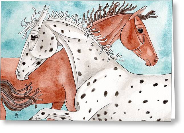 Quarter Horses Mixed Media Greeting Cards - Appaloosa And Chestnut On Turquoise Greeting Card by Suzanne Joyner