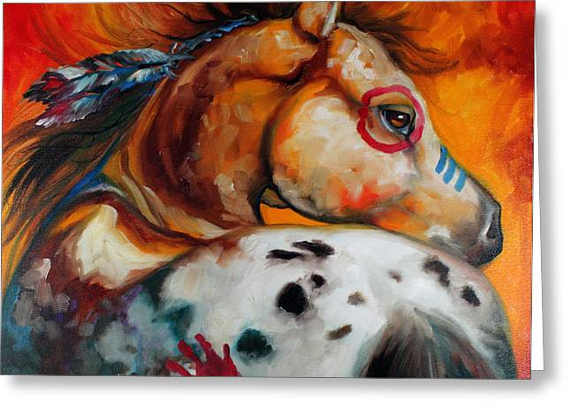 War Paint Art Greeting Cards - Appaloosa Indian War Pony Greeting Card by Marcia Baldwin
