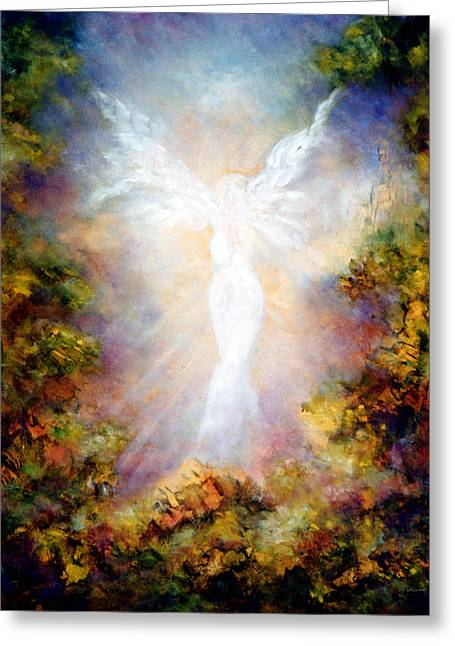 Religious Angel Art Greeting Cards - Apparition II Greeting Card by Marina Petro