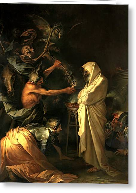 Samuel Greeting Cards - Apparition of the Spirit of Samuel to Saul Greeting Card by Salvator Rosa