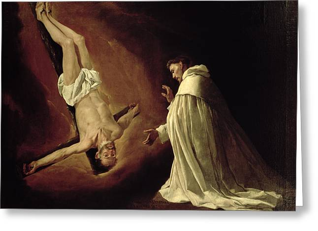 Martyr Greeting Cards - Appearance of Saint Peter to Saint Peter Nolasco Greeting Card by Francisco de Zurbaran