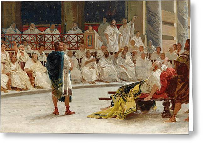 Appius Claudius Responds To Cineas To First Leave Italy And Then To Negotiate Peace Greeting Card by Giuseppe Sciuti