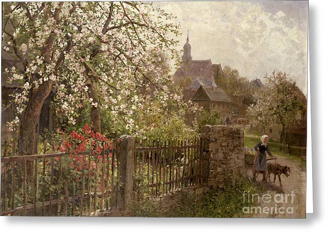 Spires Greeting Cards - Apple Blossom Greeting Card by Alfred Muhlig