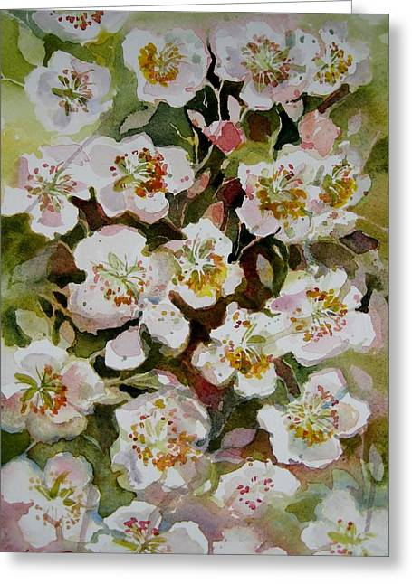 Blossoming Tapestries - Textiles Greeting Cards - Apple blossom Greeting Card by Lena Thynell