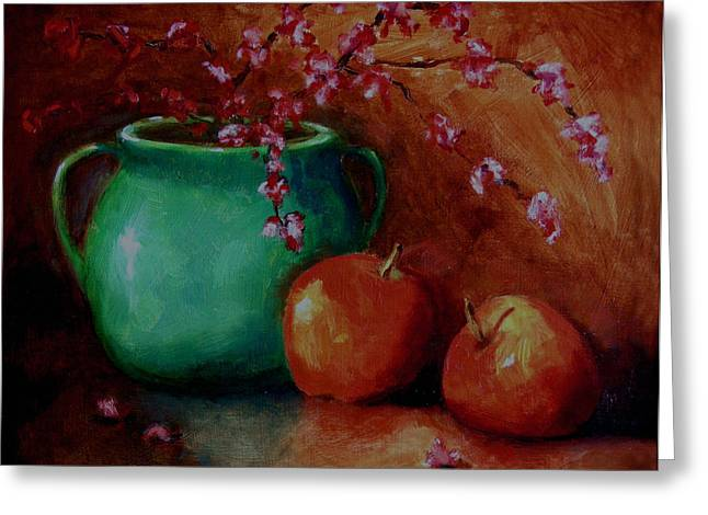 Apple Paintings Greeting Cards - Apple Blossoms Greeting Card by Linda Hiller