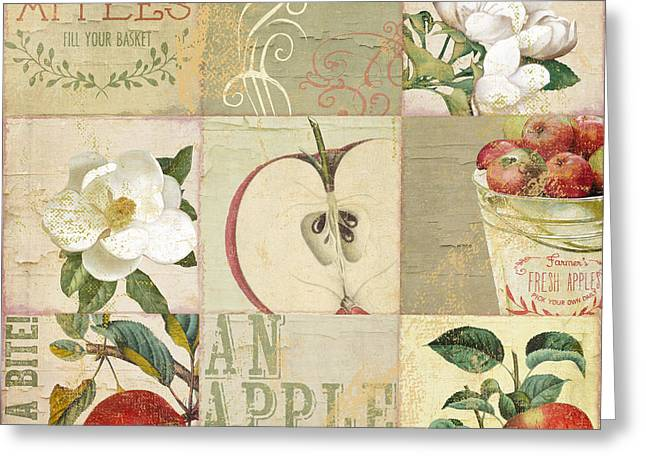 Apple Blossoms Patchwork I Greeting Card by Mindy Sommers