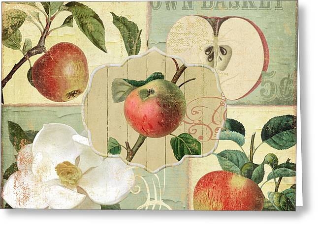 Apple Picking Greeting Cards - Apple Blossoms Patchwork III Greeting Card by Mindy Sommers