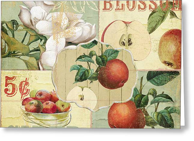 Apple Picking Greeting Cards - Apple Blossoms Patchwork IV Greeting Card by Mindy Sommers