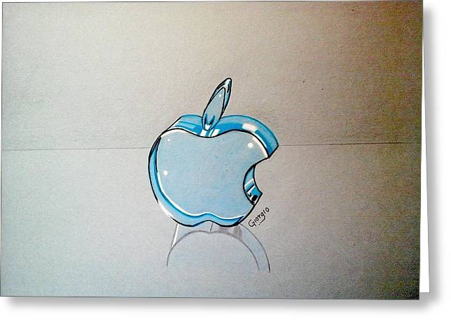 Apple Glass Art Greeting Cards - Apple blue glass 3D Greeting Card by Giorgio Valencia