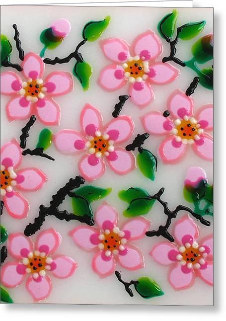 Original Glass Greeting Cards - Apple Flower Greeting Card by Gabriela Stavar