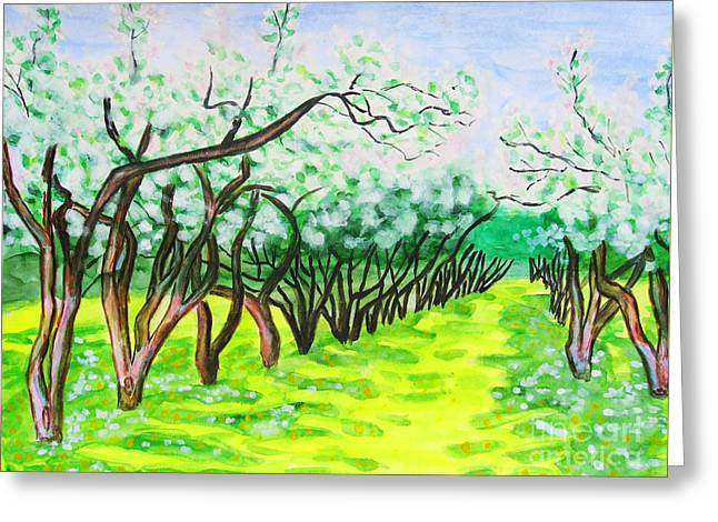 Hand Drawn Greeting Cards - Apple garden in blossom Greeting Card by Irina  Afonskaya