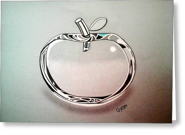 Apple Glass Art Greeting Cards - Apple glass 3D Greeting Card by Giorgio Valencia