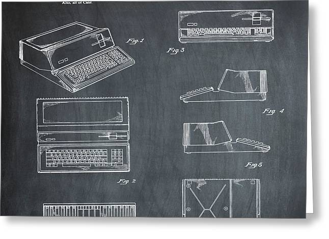 Apple Macintosh Patent 1983 Chalk Greeting Card by Bill Cannon