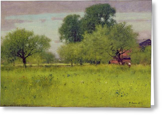 Apple Paintings Greeting Cards - Apple Orchard Greeting Card by George Snr Inness