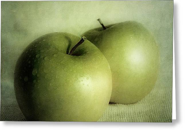 Food And Beverage Greeting Cards - Apple Painting Greeting Card by Priska Wettstein