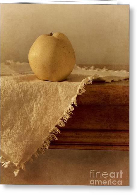 Wooden Table Greeting Cards - Apple Pear On A Table Greeting Card by Priska Wettstein