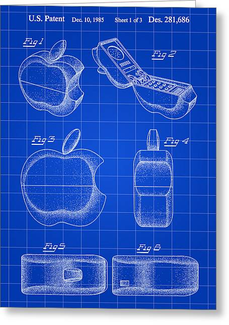 Apple Phone Patent 1985 - Blue Greeting Card by Stephen Younts