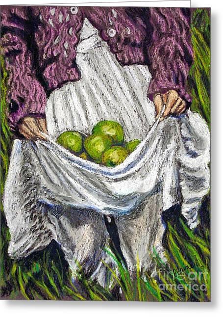 Picking Pastels Greeting Cards - Apple Picking Greeting Card by Elaine Berger