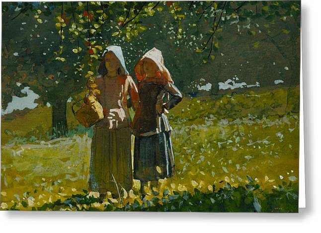 Apple Picking Greeting Card by Winslow Homer