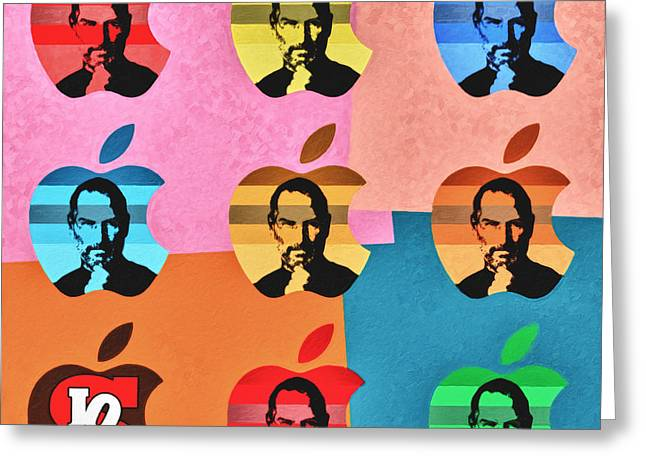 Digital Paint Greeting Cards - Apple Pop Art - Steve Jobs Tribute Greeting Card by Radu Aldea